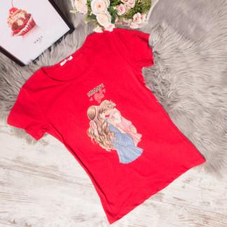 3014-1 красная футболка женская со стразами стрейчевая (S-L, 3 ед.) Футболка: артикул 1105311