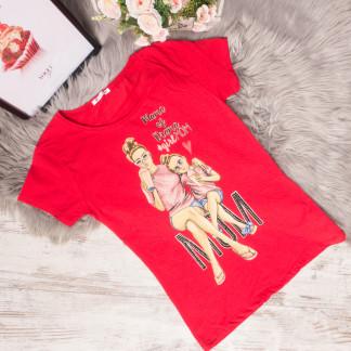 3015-2 красная футболка женская со стразами стрейчевая (S-L, 3 ед.) Футболка: артикул 1105317