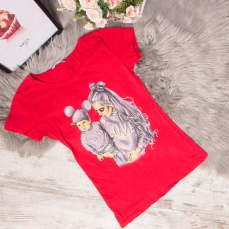3010-1 красная футболка женская со стразами стрейчевая (S-L, 3 ед.) Футболка: артикул 1105300