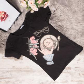3003-2 черная футболка женская со стразами стрейчевая (S,М, 2 ед.) Футболка: артикул 1105288