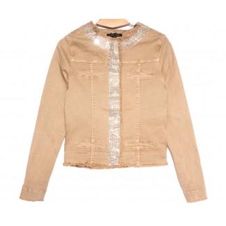9136-7 бежевая Saint Wish куртка джинсовая женская весенняя стрейчевая (M-3XL, 5 ед.) Saint Wish: артикул 1105791