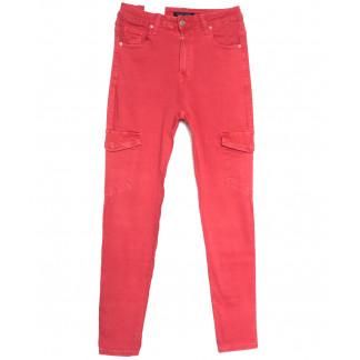 9079-2 красные Saint Wish джинсы женские с боковыми карманами полубатальные весенние стрейчевые (28-33, 6 ед.) Saint Wish: артикул 1105810