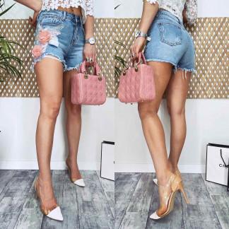 4073 Fleur шорты джинсовые женские с аппликацией котоновые (25-30, 6 ед.) Fleur: артикул 1106249