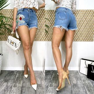 9863 Fleur шорты джинсовые женские с аппликацией котоновые (25-30, 6 ед.) Fleur: артикул 1106251