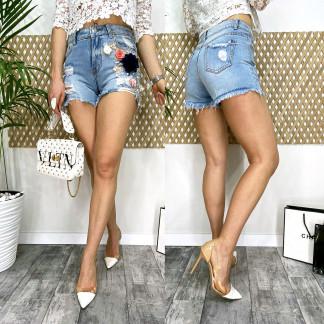 0963 Fleur шорты джинсовые женские с аппликацией котоновые (25-30, 6 ед.) Fleur: артикул 1106250