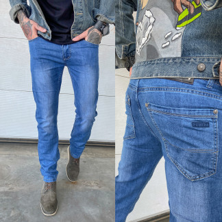 6010 Pobeda джинсы мужские полубатальные синие весенние стрейчевые (32-42, 8 ед.) Pobeda: артикул 1105213
