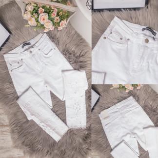 0423 Periscope джинсы женские белые с декоративной отделкой летние стрейчевые (36-42, евро, 8 ед.) Periscope: артикул 1106774