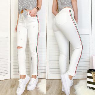 0433 Periscope джинсы женские белые с декоративной отделкой летние стрейчевые (36-42, евро, 8 ед.) Periscope: артикул 1106877