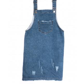 1792 YMR сарафан джинсовый с рванкой синий весенний коттоновый (S-L, 6 ед.) YMR: артикул 1107109