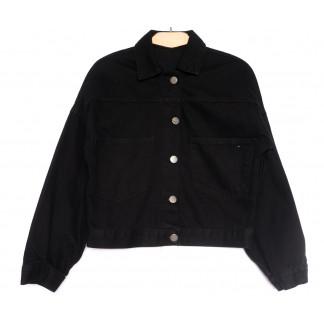0023 Куртка джинсовая женская черная весенняя коттоновая (34-40, 5 ед.) Куртка: артикул 1106905
