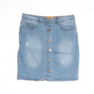 0600-126 Kind Lady юбка джинсовая полубатальная с царапками синяя весенняя коттоновая (42-52,евро, 6 ед.) Kind Lady: артикул 1107138