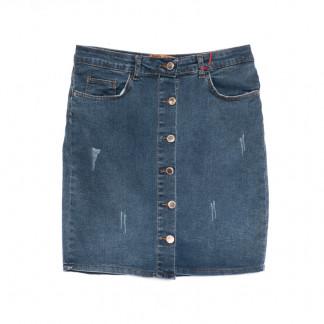 0800-125 Kind Lady юбка джинсовая полубатальная с царапками синяя весенняя коттоновая (42-52,евро, 6 ед.) Kind Lady: артикул 1107140