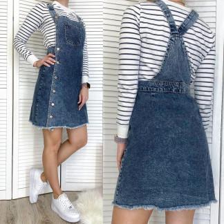 2956 Xray сарафан джинсовый на пуговицах синий весенний коттоновый  (34-40,евро, 6 ед.) XRAY: артикул 1106936