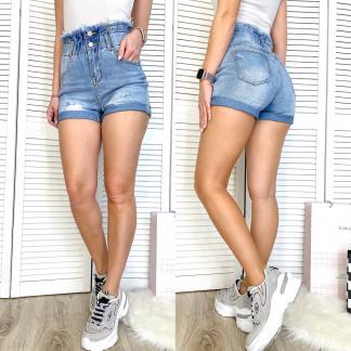 3709 New Jeans шорты джинсовые женские с рванкой синие коттоновые (25-30, 6 ед.) New Jeans: артикул 1106973