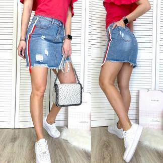 3742 New Jeans юбка джинсовая с рванкой синяя весенняя коттоновая (25-30, 6 ед.) New Jeans: артикул 1107012