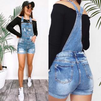3676 New Jeans комбинезон-шорты джинсовый женский с рванкой синий весенний коттоновый (25-30, 6 ед.) New Jeans: артикул 1106980