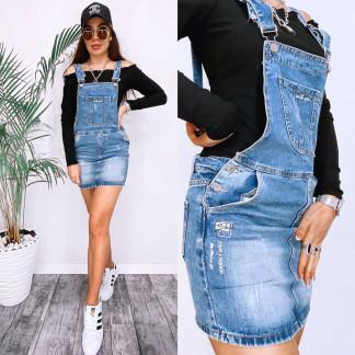 3677 New Jeans сарафан джинсовый с царапками синий весенний коттоновый (25-30, 6 ед.) New Jeans: артикул 1106985