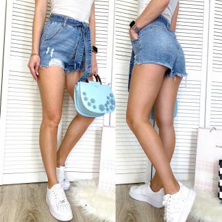 3719 New Jeans шорты джинсовые женские с рванкой синие коттоновые (25-30, 6 ед.) New Jeans: артикул 1107003
