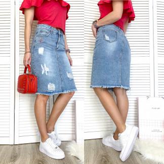 3740 New Jeans юбка джинсовая с рванкой синяя весенняя коттоновая (25-30, 6 ед.) New Jeans: артикул 1107008