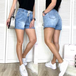 3753 New Jeans шорты джинсовые женские на резинке синие коттоновые (25-30, 6 ед.) New Jeans: артикул 1106994