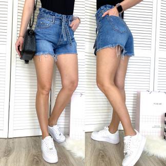 3703 New Jeans шорты джинсовые женские с царапками синие коттоновые (25-30, 6 ед.) New Jeans: артикул 1106993