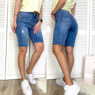 3738 New Jeans шорты джинсовые женские полубатальные с рванкой синие стрейчевые (28-33, 6 ед.) New Jeans: артикул 1107033