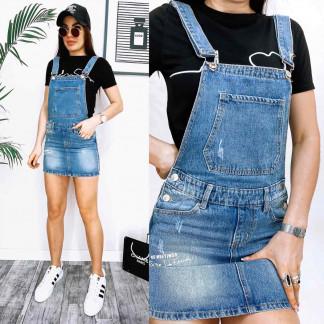 3679 New Jeans сарафан джинсовый с царапками синий весенний коттоновый (25-30, 6 ед.) New Jeans: артикул 1106986