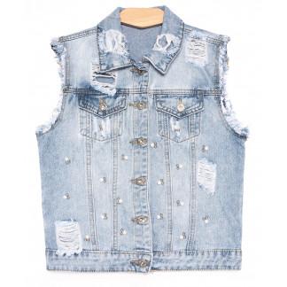 0823 New Jeans жилетка джинсовая женская синяя весенняя коттоновая (XS-XXL, 6 ед.) New Jeans: артикул 1105130
