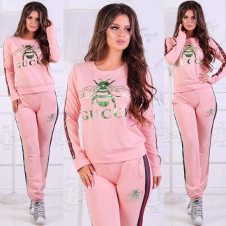 0019-02 пчела розовый женский спортивный костюм (44,46,48, 3 ед.) Костюм: артикул 1106825