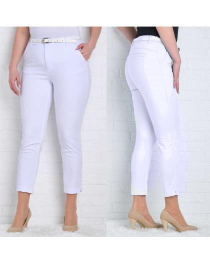 9787-01 белые (B) Moon girl брюки женские батальные 7/8 весенние стрейчевые (30-40, 6 ед.) Moon Girl