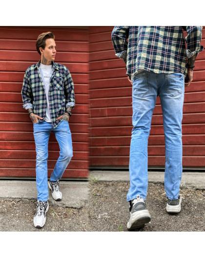 2336 Dark Blue джинсы мужские с царапками синие весенние стрейчевые (29-36, 8 ед.) Dark Blue