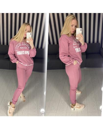 69064 розовый спортивный костюм женский из двунитки ( 3 ед. размеры: M.L.XL)  Спортивный костюм