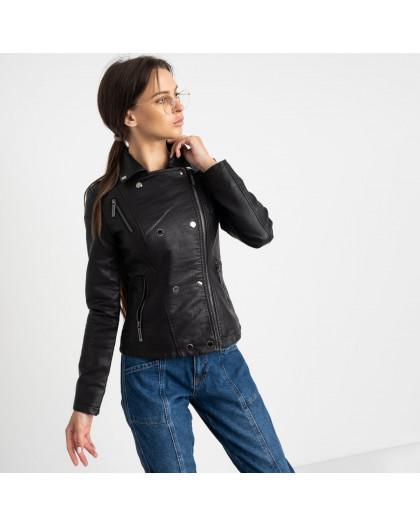 2001 куртка-косуха черная женская из кожзама (5 ед. размеры: S.M.L.XL.XXL) Куртка