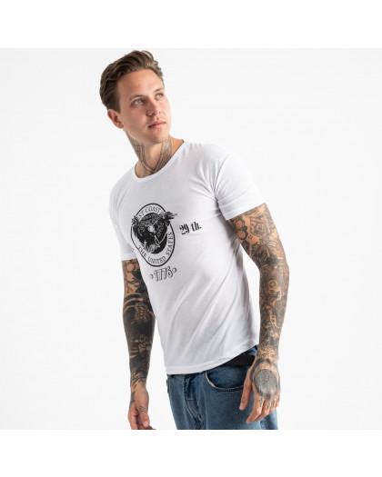 2606-10 белая футболка мужская с принтом (4 ед. размеры: M.L.XL.2XL) Футболка