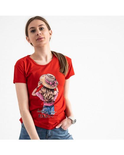 2576-3 красная футболка женская с принтом (3 ед. размеры: S.M.L) Футболка