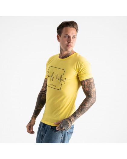 2603-6 желтая футболка мужская с принтом (4 ед. размеры: M.L.XL.2XL) Футболка