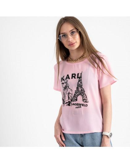 2056-33 футболка розовая женская с принтом (5 ед. размеры: 42.44.46.48.50) Футболка