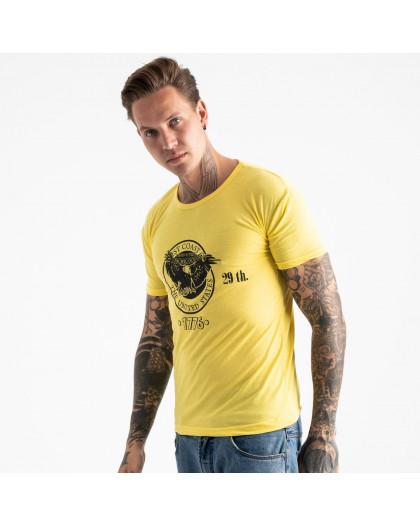 2606-6 желтая футболка мужская с принтом (4 ед. размеры: M.L.XL.2XL) Футболка
