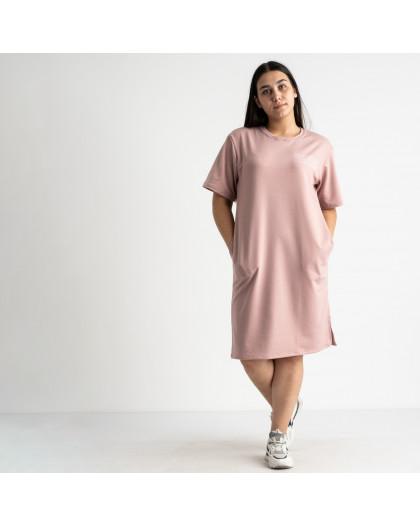5566-1 Mishely платье пудровое полубатальное из двунитки  (4 ед. размеры: 46.48.50.52) Mishely