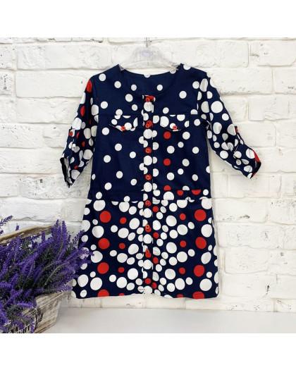 0417-1 платье хлопоковое в горошек на девочку 5-7 лет (3 ед. размеры: 110.116.122) Маленьке сонечко
