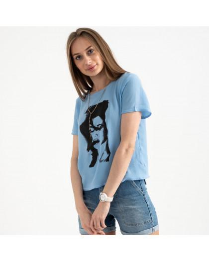 2022-13 футболка голубая женская с принтом (5 ед. размеры: 42.44.46.48.50) Футболка