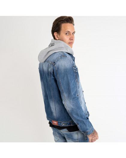1009 Fang джинсовая куртка с капюшоном голубая стрейчевая (5 ед. размеры: M. L.XL.2XL.3XL) Fang