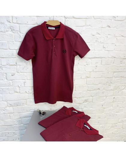 2690-8 бордовая футболка поло мужская (4 ед. размеры: M.L.XL.XXL) Футболка
