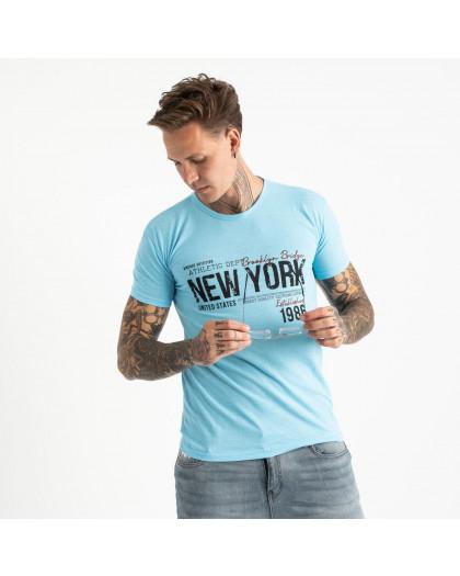 2615-13 голубая футболка мужская с принтом (4 ед. размеры: M.L.XL.2XL) Футболка