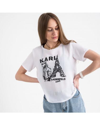 2056-10 футболка белая женская с принтом (5 ед. размеры: 42.44.46.48.50) Футболка