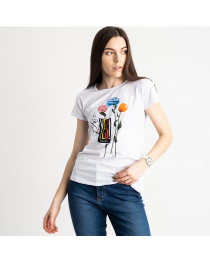 2582-10 белая футболка женская с принтом (3 ед. размеры: S.M.L) Футболка