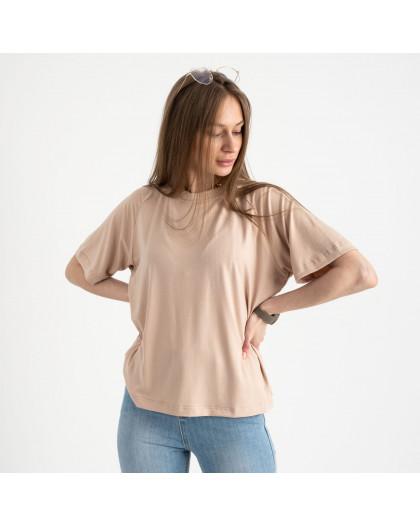 14440-3 Mishely бежевая футболка женская в стиле oversize  (4 ед. размеры: S.M.L.XL) Mishely