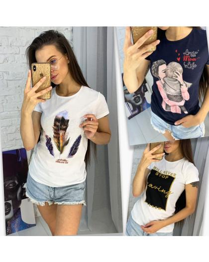 3702-99 футболка женская микс 3-х моделей и цветов без выбора цветов (15 ед. размеры: универсал 42-44) МИКС