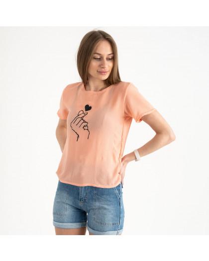 2023-7 футболка персиковая женская с принтом (5 ед. размеры: 42.44.46.48.50) Футболка