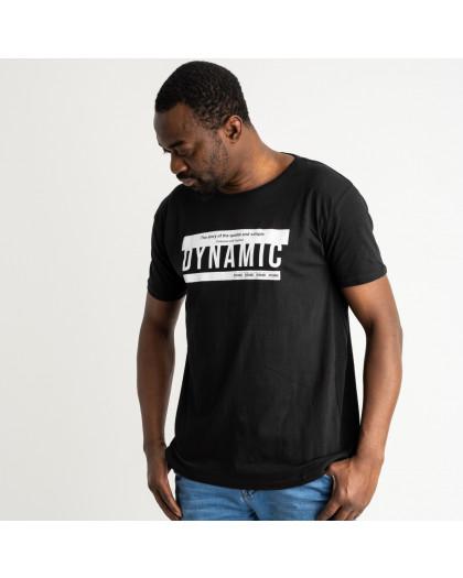 2710 черная футболка батальная мужская с принтом (4 ед. размеры: XL.2XL.3XL.4XL) Футболка
